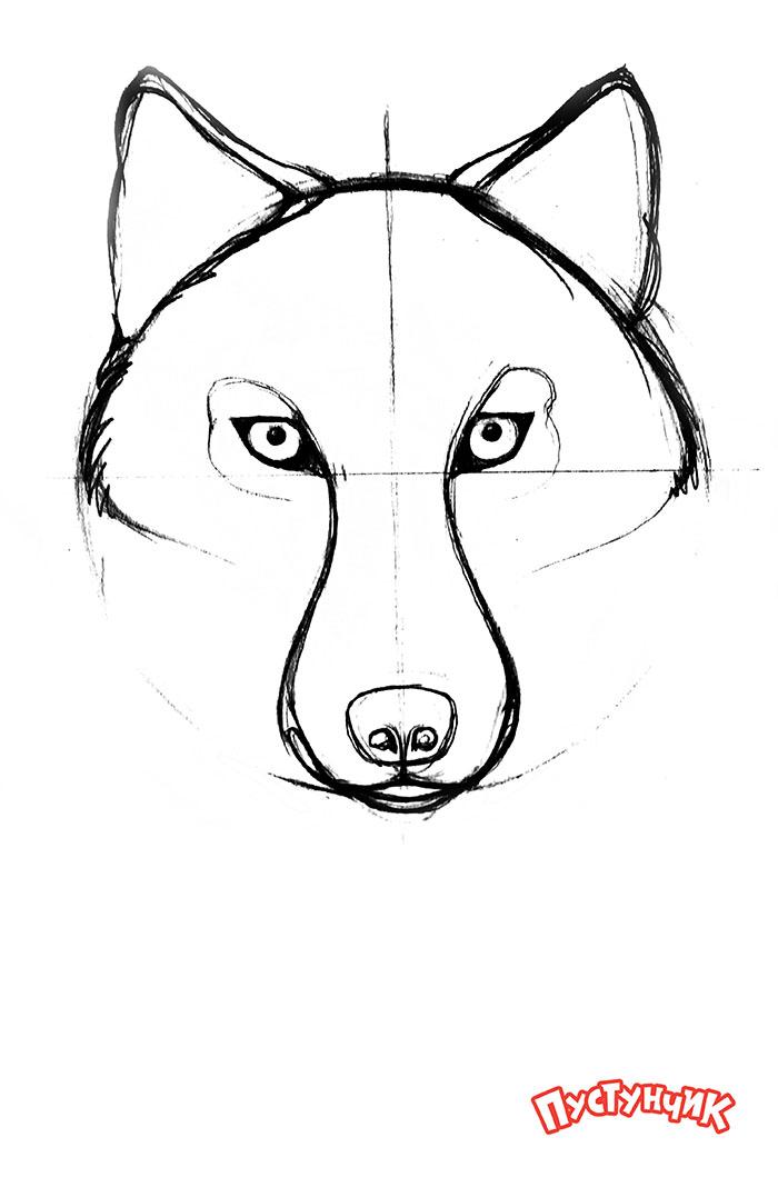 Детские рисунки волка голова